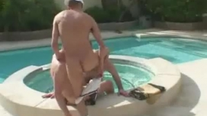 Although she is not lesbians, pornstars are secretly having a steamy threesome next to the swimming pool