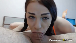 A brunette likes cock in her mouth