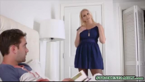 Hot blonde is wearing her best erotic lingerie all the time and having sex in her bathroom