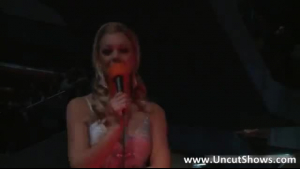 Mature blonde got not one but two hard dicks as she started masturbating on stage