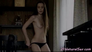 Busty trans ebony beauty fucked on the bed