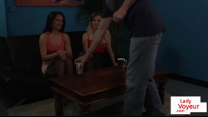 Two kinky femdoms humiliating a stud