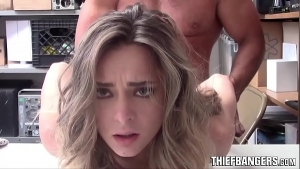Young blonde is eagerly sucking her friend's dick before he fucks her brains out